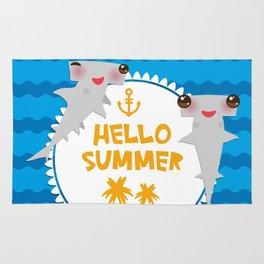 Hello Summer. Kawaii hammerhead shark Rug