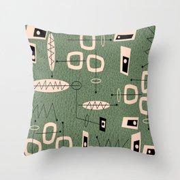 Mid-Century Atomic Green Abstract Throw Pillow