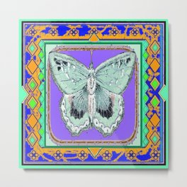 Southwestern Styalized Moth Art Design  Metal Print