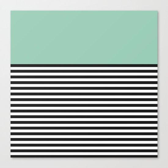 STRIPE COLORBLOCK {MUTED JADE} Canvas Print