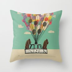 grizzly days lets go ballooning  Throw Pillow