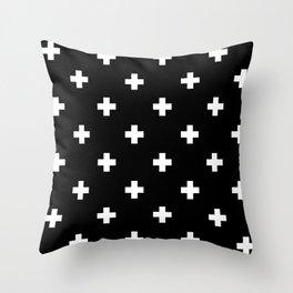 Swiss cross pattern white on black Throw Pillow