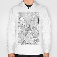 dallas Hoodies featuring Dallas Map Gray by City Art Posters