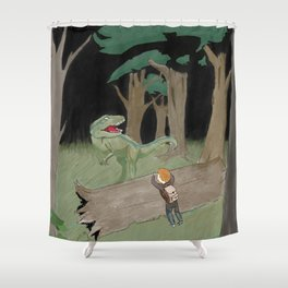 Raptor Trouble Colorized Shower Curtain