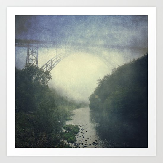 Bridge - River - Fog Art Print