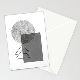 Grey white geometric Stationery Cards