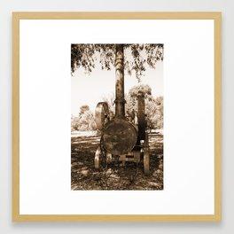 Robey Portable Steam Engine - England Sepia Framed Art Print