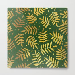 Christmas leaves torn from a gold card on a green paper illustration pattern Metal Print