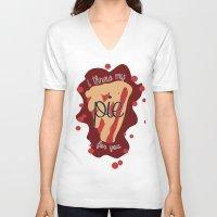 pie V-neck T-shirts featuring Pie!  by Clair Mtz