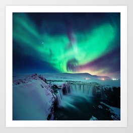 Aurora Borealis Over A Waterfall Art Print