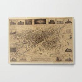 Vintage Pictorial Map of Denver CO (1881) Metal Print