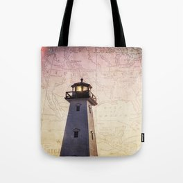 Lighthouse Map Tote Bag