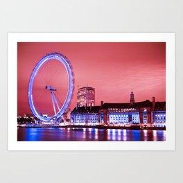 The London Eye, Pink Sky Art Print