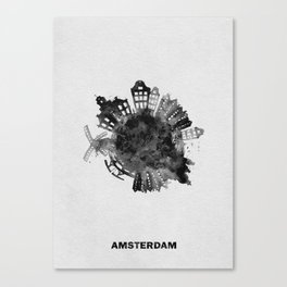 Amsterdam, The Netherlands Black and White Skyround / Skyline Watercolor Painting Canvas Print