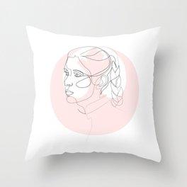 Princess Organa - single line art Throw Pillow