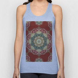 Red, green and gold mandala Unisex Tank Top