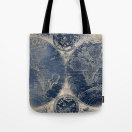 Antique World Map Gold Navy Blue Library Tote Bag