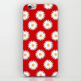 Daisy red pattern iPhone Skin