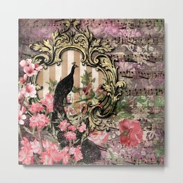 Vintage Floral Music Note Paper Metal Print