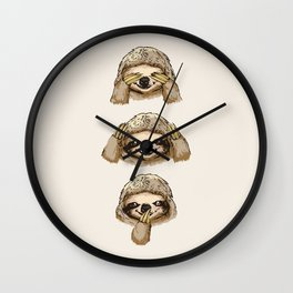 No Evil Sloth Wall Clock