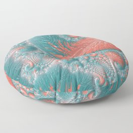 Abstract Coral Reef Living Coral Pastel Teal Blue Texture Spiral Swirl Pattern Fractal Fine Art Floor Pillow