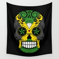 jamaica Wall Tapestries featuring Sugar Skull with Roses and Flag of Jamaica by Jeff Bartels