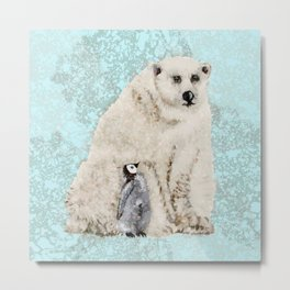 Polar Bear And Penguin (Blue Background) Metal Print