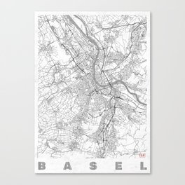 Basel Map Line Canvas Print