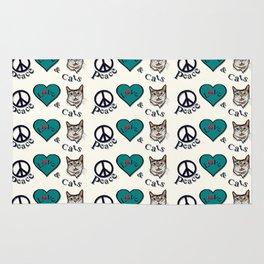 Peace Love & Cats Rug