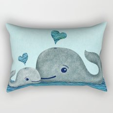 Whale Mom and Baby with Hearts Rectangular Pillow