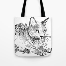 Cat and acacias Tote Bag