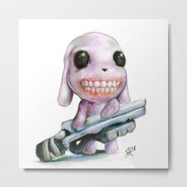 Little Dog..Big Gun | Illustration Painting Metal Print