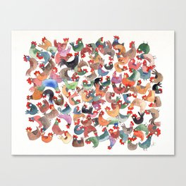 Chicken mess Canvas Print