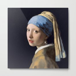Girl with a Pearl Earring, classic painting Metal Print