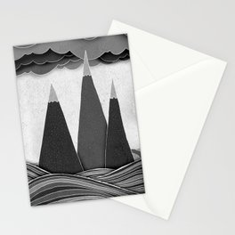 Clouds. Mountains. Water. (black and white) Stationery Cards