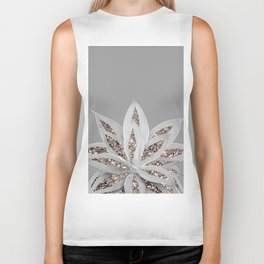 Gray Agave with Rose Gold Glitter #1 #shiny #tropical #decor #art #society6 Biker Tank