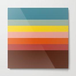 7 Abstract Colorful Retro Summer Stripes Tabaldak Metal Print