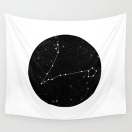 Pisces zodiac star sign constellation art black and white Wall Tapestry