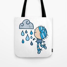 Rain Cloud Girl Tote Bag
