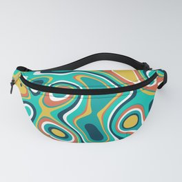 Abstract colorful flowing wavy shapes pattern Fanny Pack