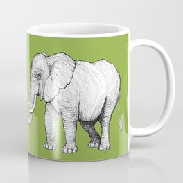 Elephant on Bright Olive Coffee Mug