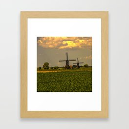 Windmills at the Waal, the Netherlands  Framed Art Print