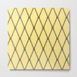 Nautical Fishing Net (Yellow and Black) Metal Print
