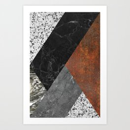Marble, Granite, Rusted Iron Abstract Art Print