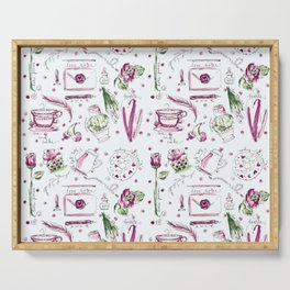 Love Note watercolor pattern Serving Tray