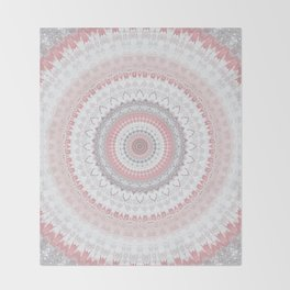 Boho Pink Silver Pastel Mandala Throw Blanket