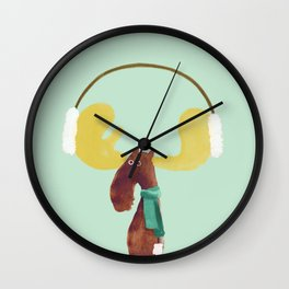This moose is ready for winter Wall Clock