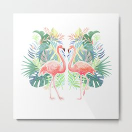 Lovely Fairy Tale For Two Flamingo Watercolor Illustration Metal Print