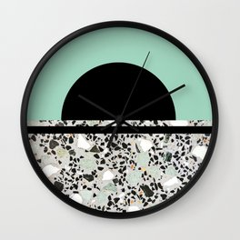 Abstract Concrete and Marble Terrazzo Stone Pastel Green Wall Clock