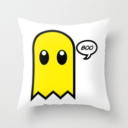 Cute ghost yellow spooky boo Throw Pillow